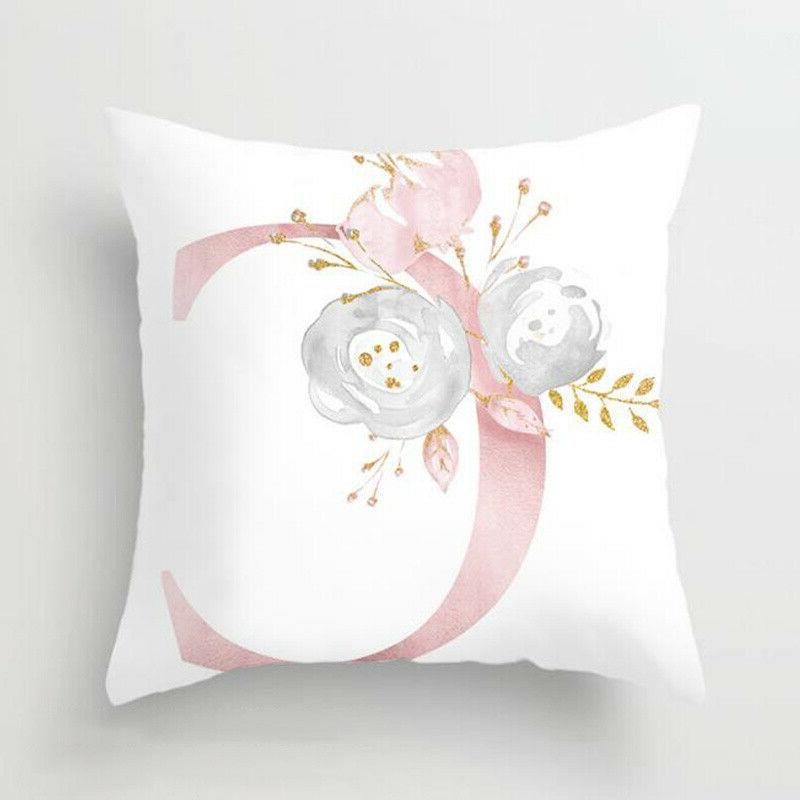 Pink Cushion Cover Letter Pillow Throw Decors