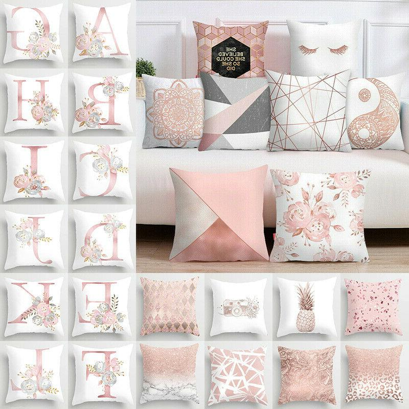 pink cushion cover letter print pillow case