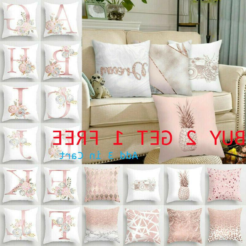 pink cushion cover up letter print pillow