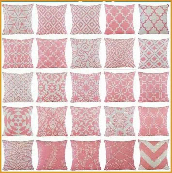 pink geometric home decor throw pillow cover