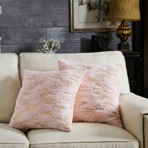 Throw Fur Embroider Sequins Soft Pillows Home