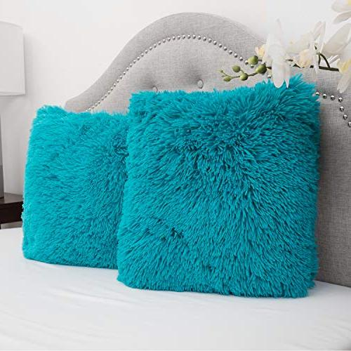 Sweet Home Plush Pillow Fur Soft and Comfy , Turquoise