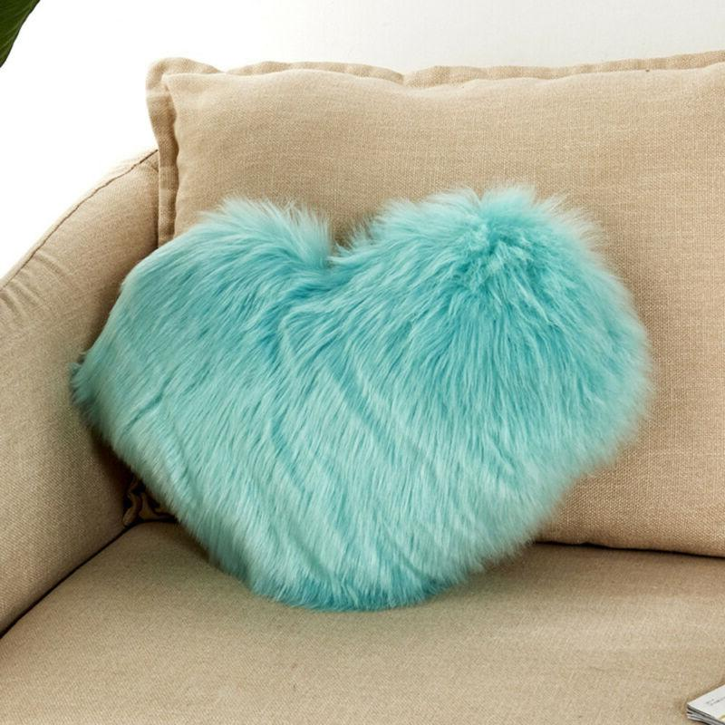 Plush Throw Cushion Cover Heart Pillow US