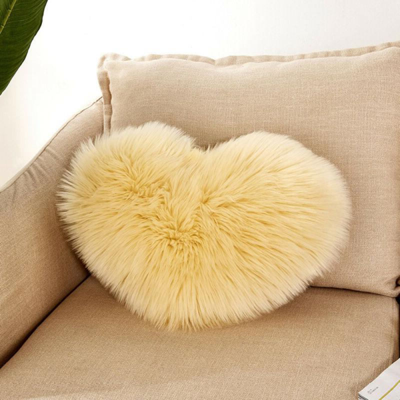 Plush Shaggy Cover Heart Fluffy Pillow Home US