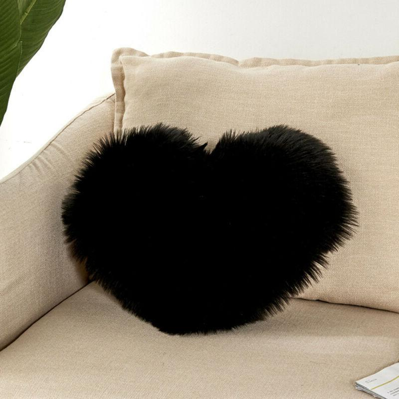 Plush Shaggy Throw Cover Heart Pillow Case US