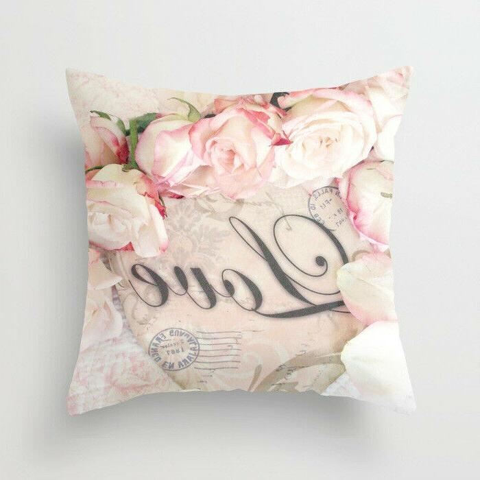 Artificial flower throw case for official cushion cover Home