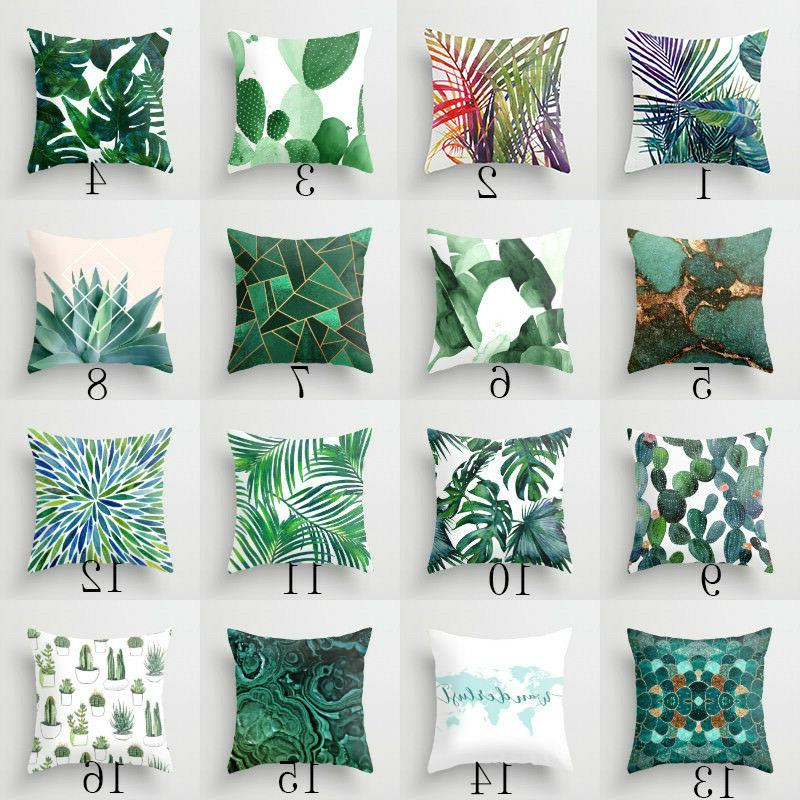 Polyester pillow cover green leaves throw Decor