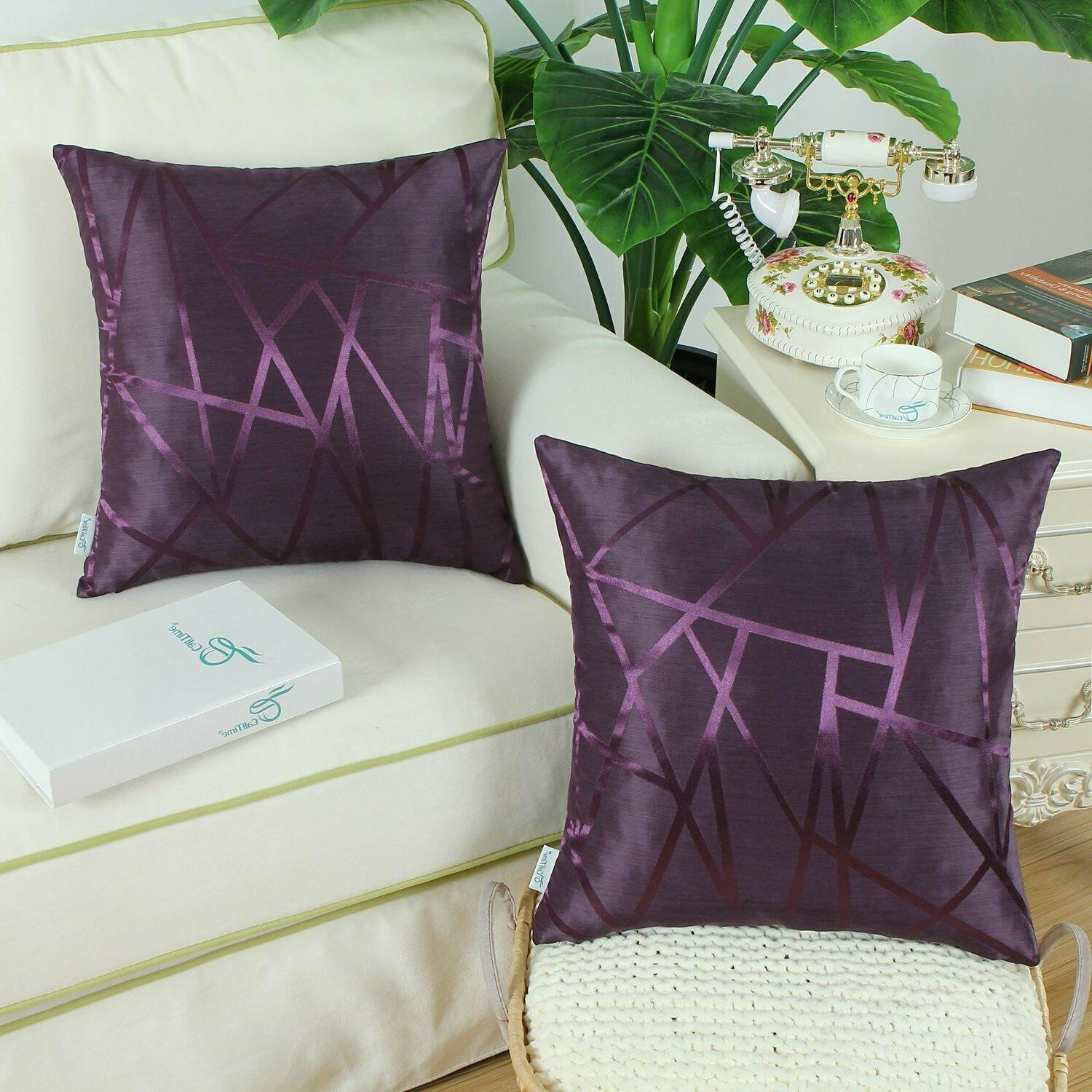 Purple Throw Covers - Contrast Calitime 18x18, Pack 2