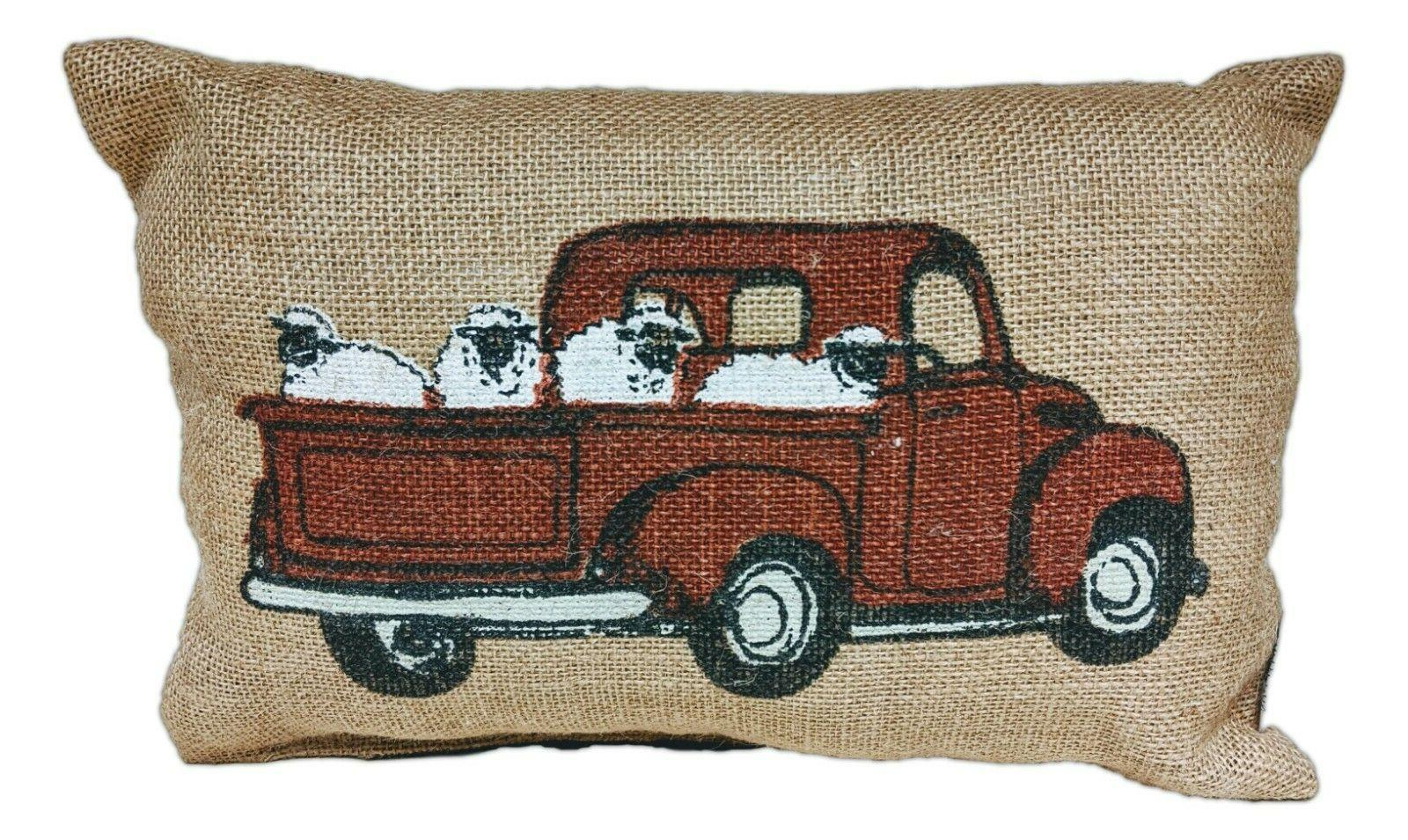 "Red Pickup Truck Sheep Burlap x 8"", House"