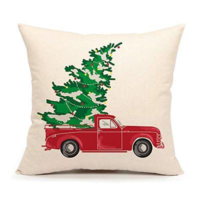 red truck with christmas tree vintage home
