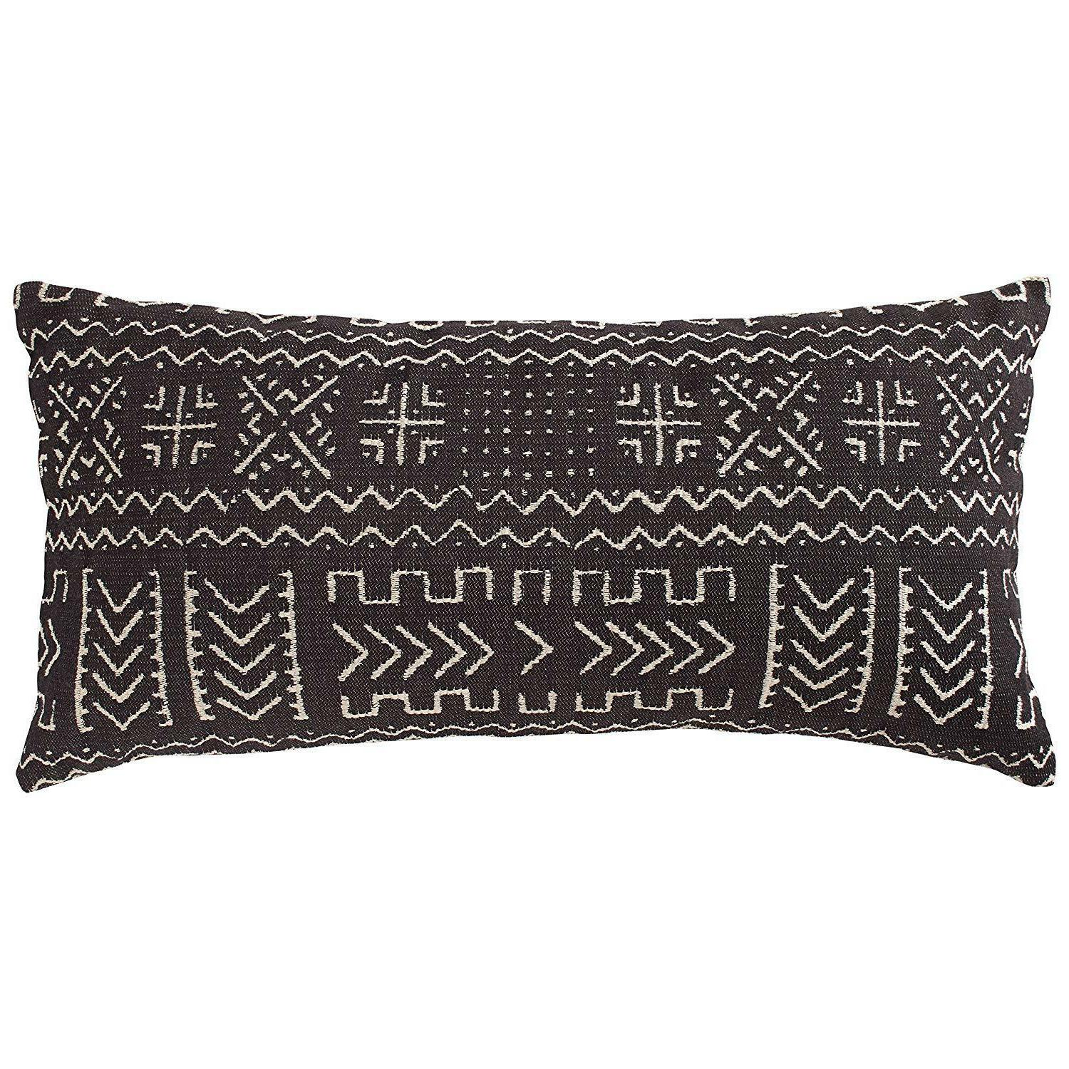 Rivet Mudcloth-Inspired Pillow, x Pale Gray