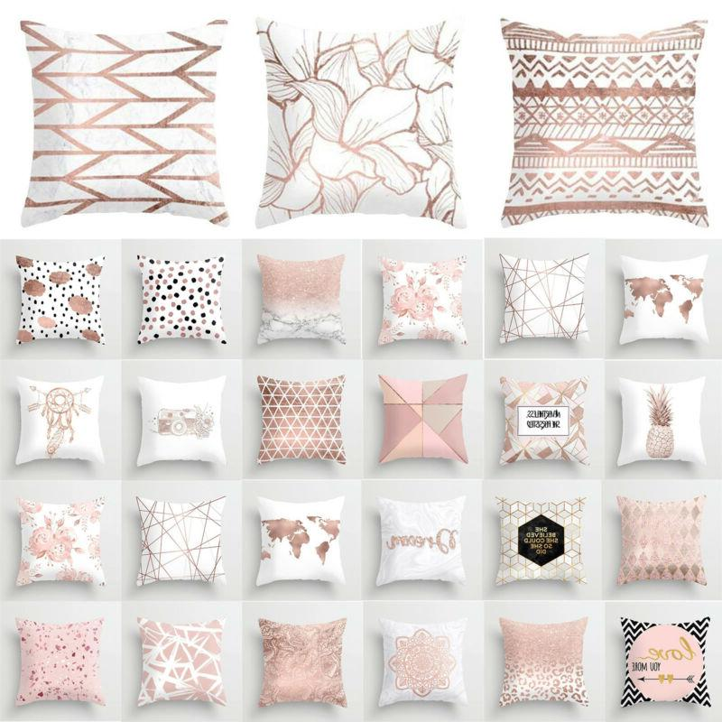 Pink Cushion Cover Up Letter Print Throw Decors