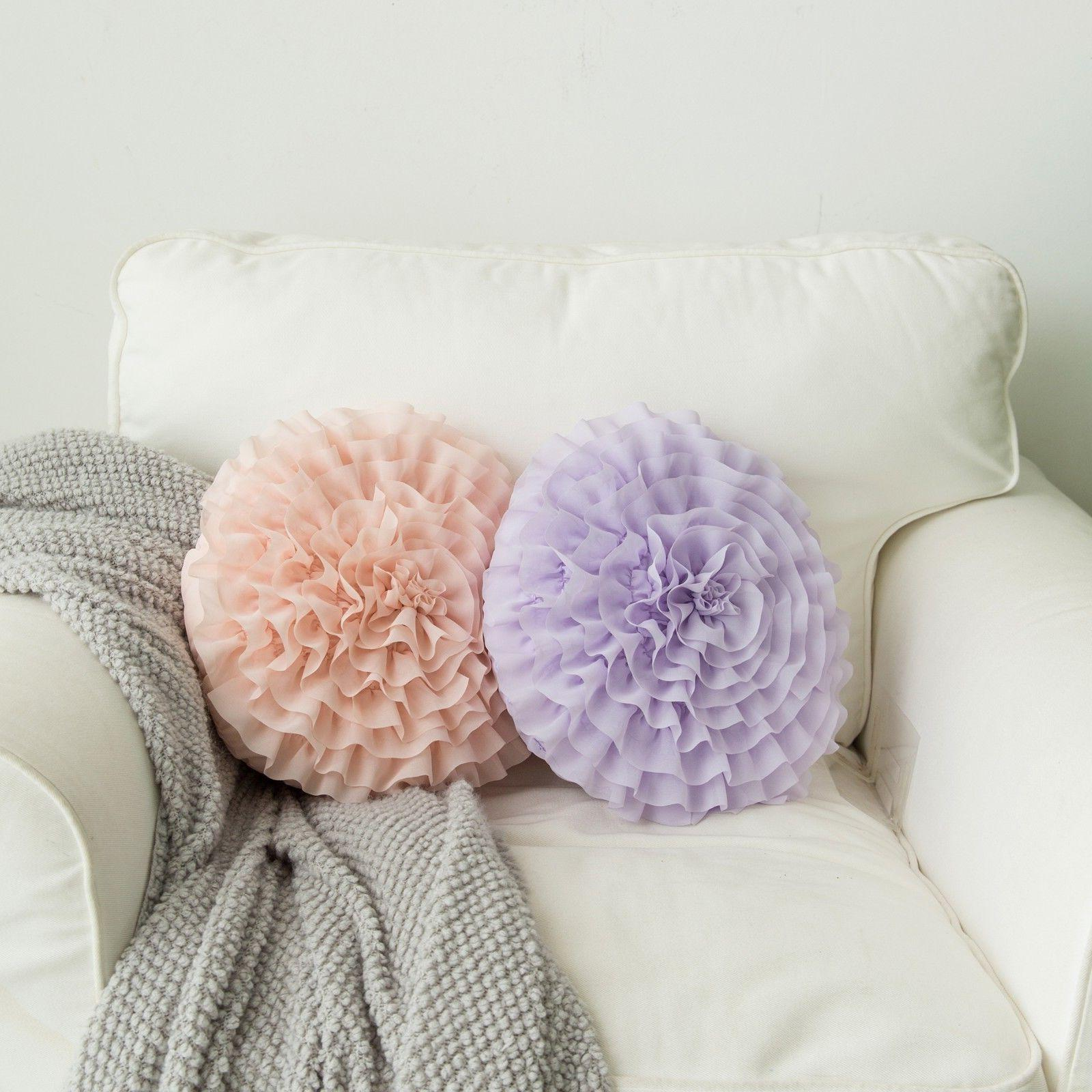 ruffled rose 3d flower shape decorative throw