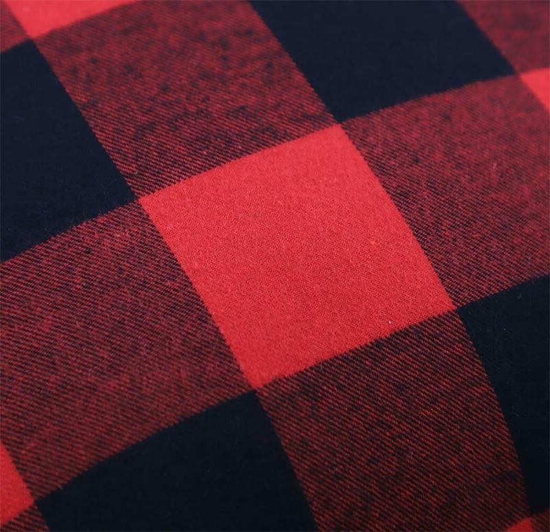 4Th 2 Buffalo Check Plaid Throw Covers With Pomp