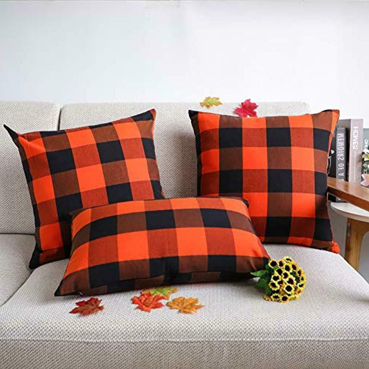 4TH Emotion 2 Fall Halloween Check Plaids Pillow Case