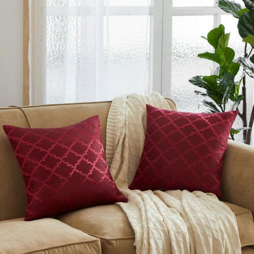 Set 2 Jacquard Geometric Case Sofa Waist Home Deco