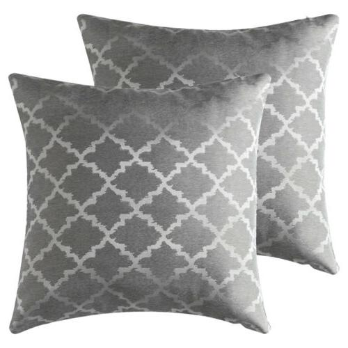 set of 2 jacquard geometric throw pillow