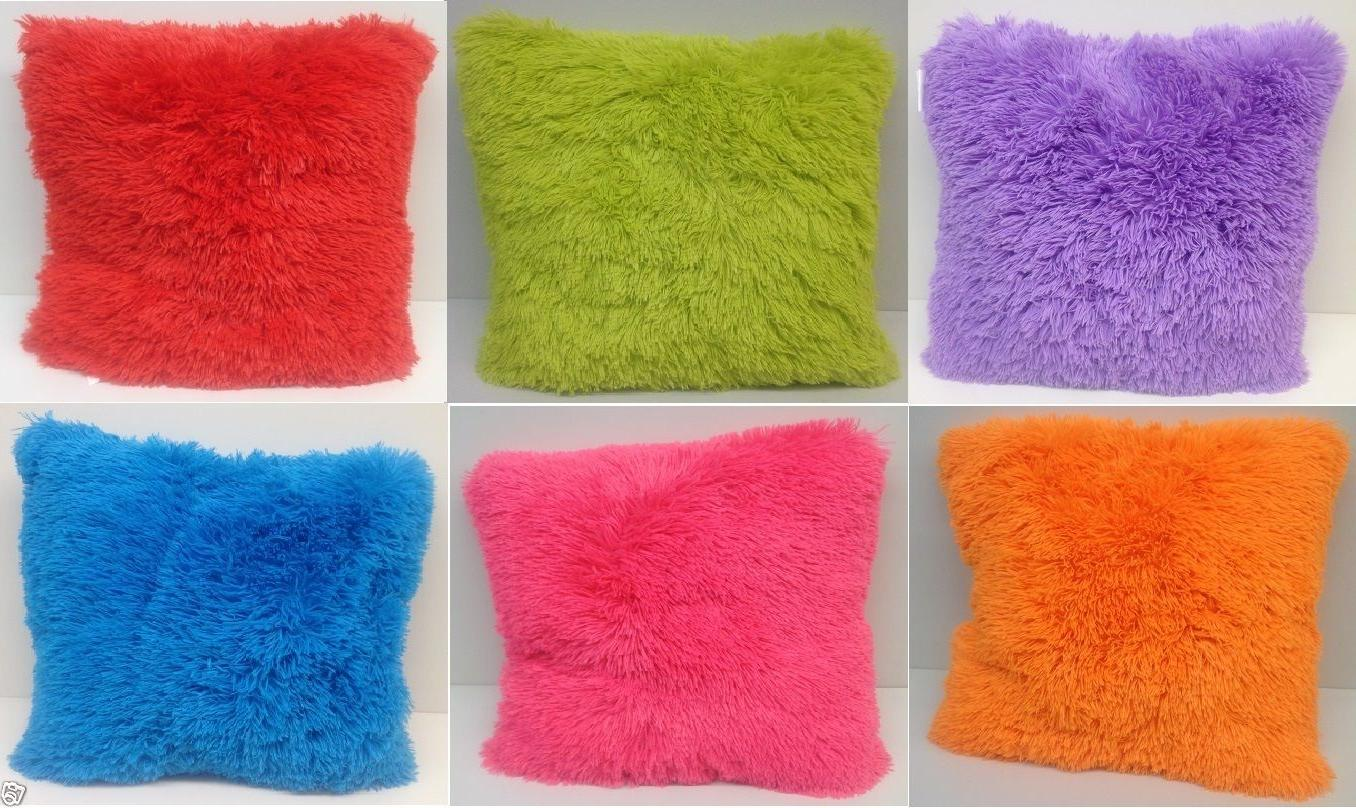 Set of 2 Large Shaggy Fur Toss Throw Pillows, Many Colors, 2