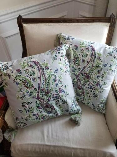 Set Of 2 Paisley Embroidered Throw Pillows W/ Tassels,