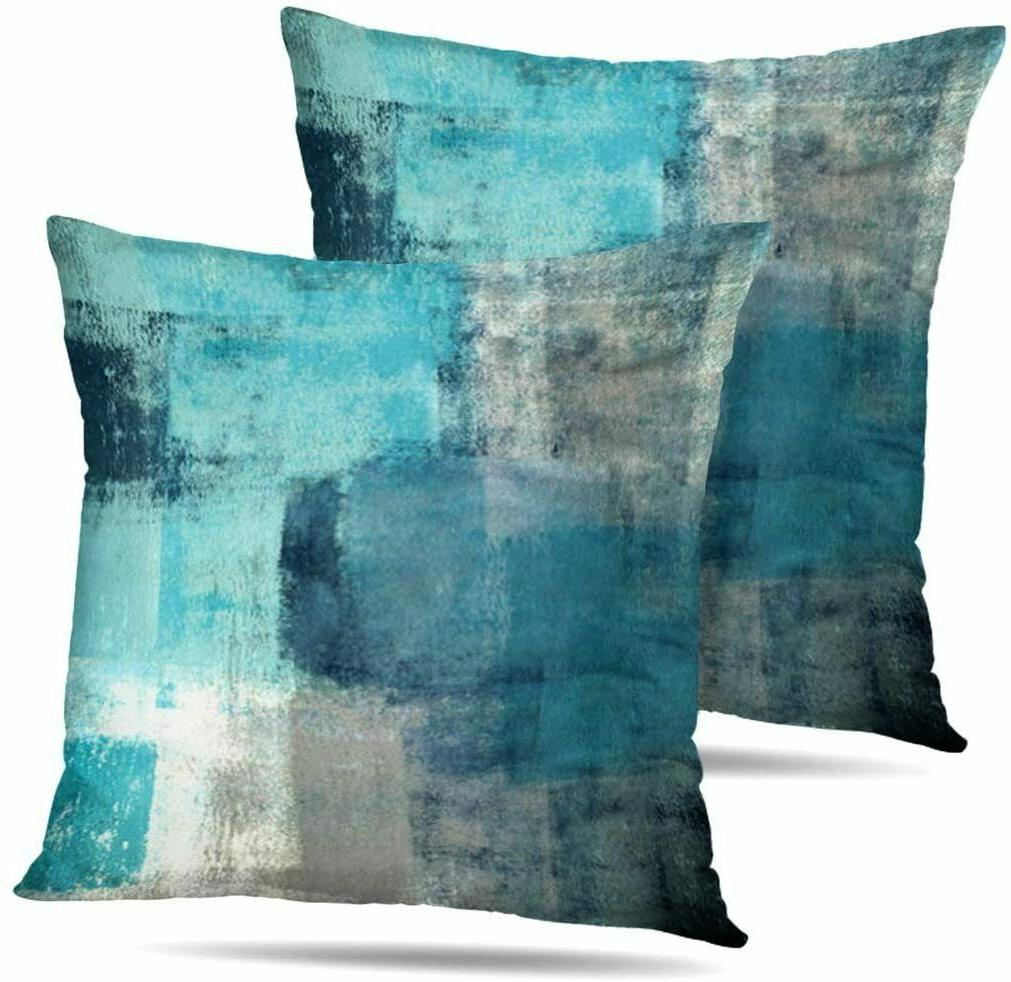 set of 2 turquoise and grey art