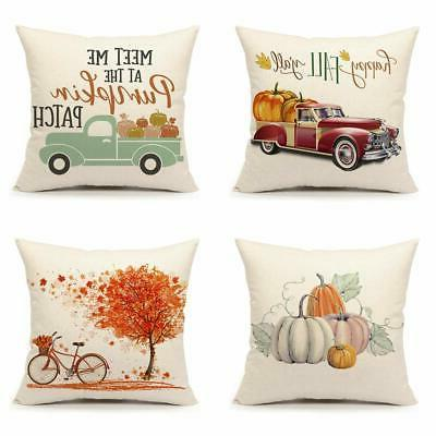 set of 4 fall throw pillow covers