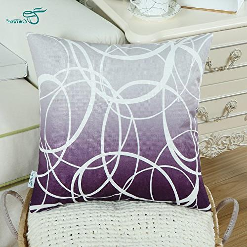 CaliTime of Soft Canvas Pillow Covers Cases Sofa Home Decor Gradient Ombre Rings Both 18 X 18 Inches to Deep Purple