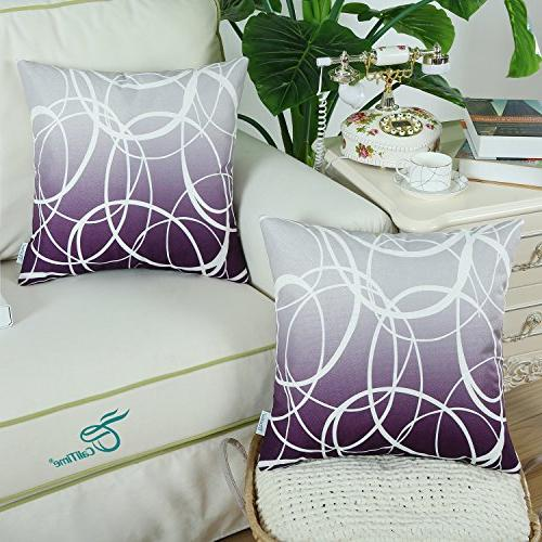 CaliTime Soft Canvas Throw Covers Cases Sofa Gradient Both Sides 18 Inches to Deep Purple