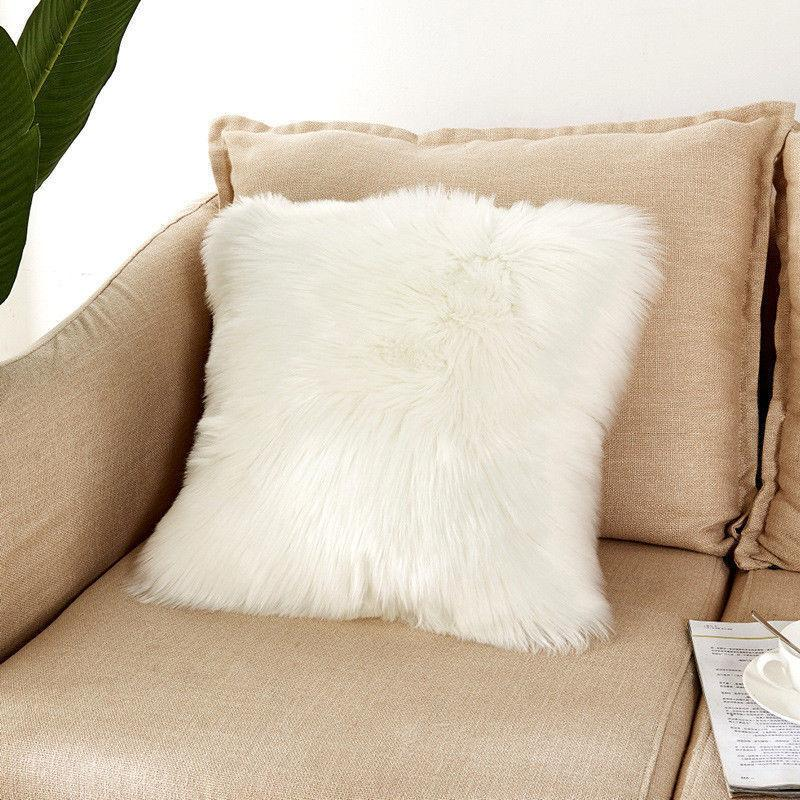 Soft Faux Fur Pillow Case Plush Sofa Cushion Cover