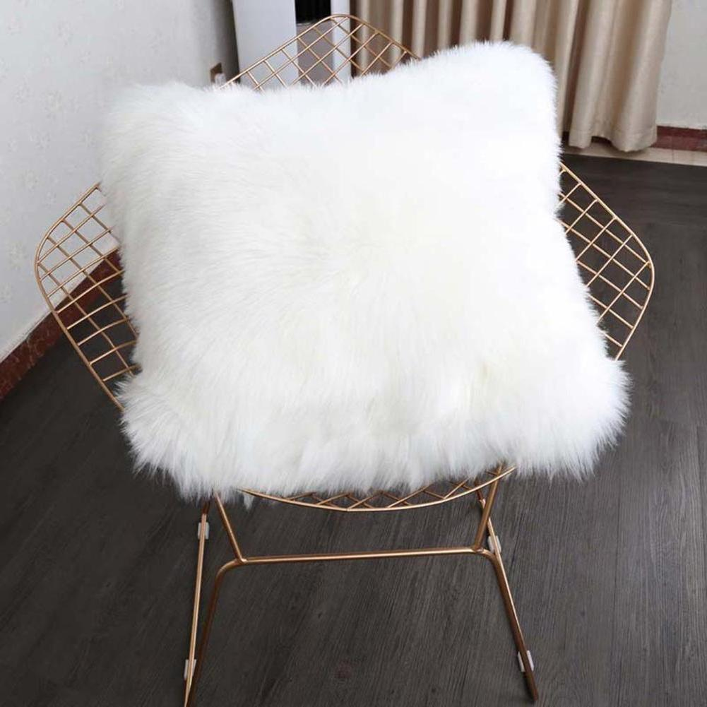 Soft Faux Fur Pillow Case Fluffy Plush Sofa Decor