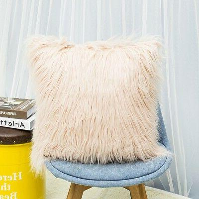 Home Decor Soft Plush Faux Fur Throw Pillow Pillowcase