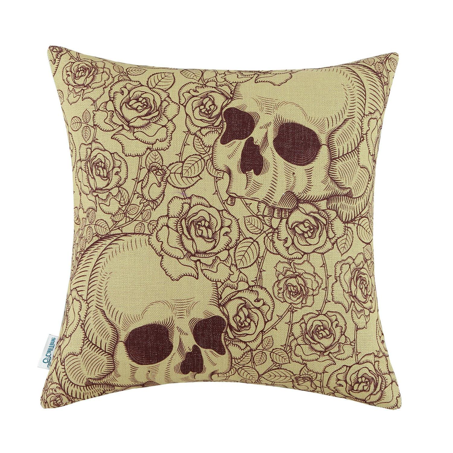 CaliTime Square Cushion Throw Pillow Cases Hallowmas Florals