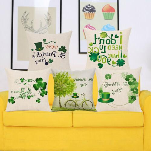 St. Patrick's Day Linen Cushion Cover Pillow Case US