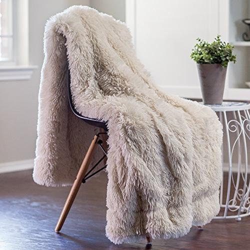 Chanasya Shaggy Cover Fuzzy Faux Elegant Cozy Fleece & Two Throw Pillow Covers - For Couch Chair Sofa - Cream