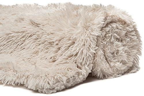 Chanasya Shaggy Cover - Fuzzy Faux Fur Cozy Fleece & Two Covers For Couch Sofa Cream