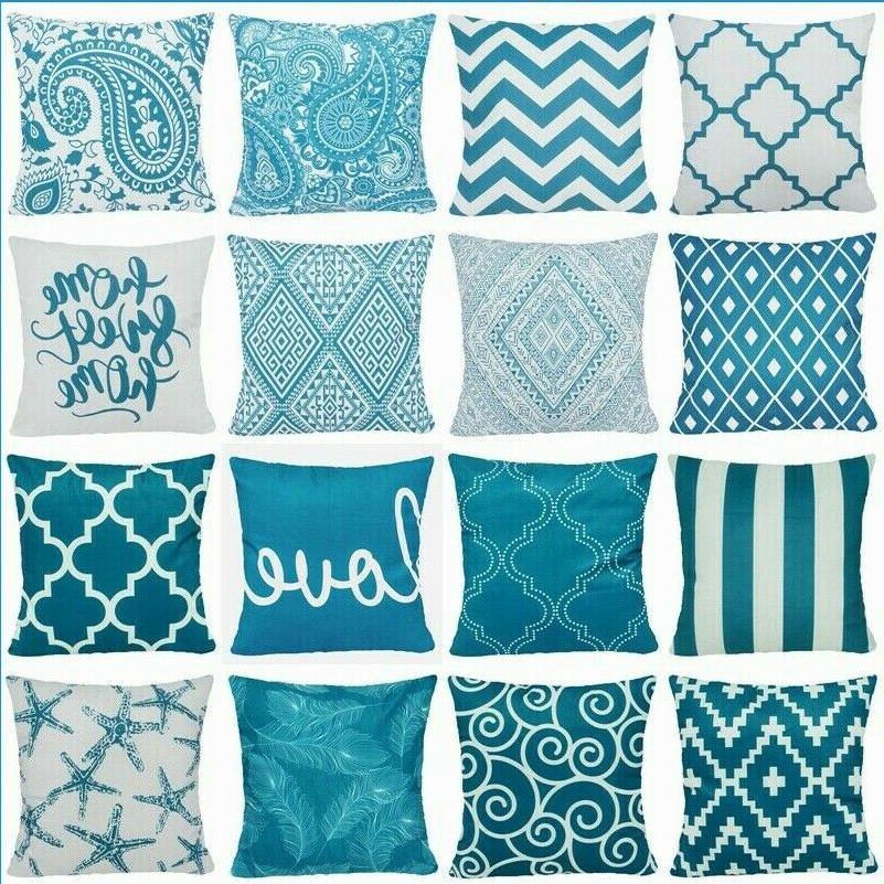 teal blue premium soft throw pillow cover