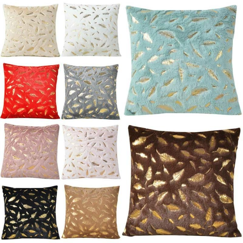 throw pillow case fur with printing leaves