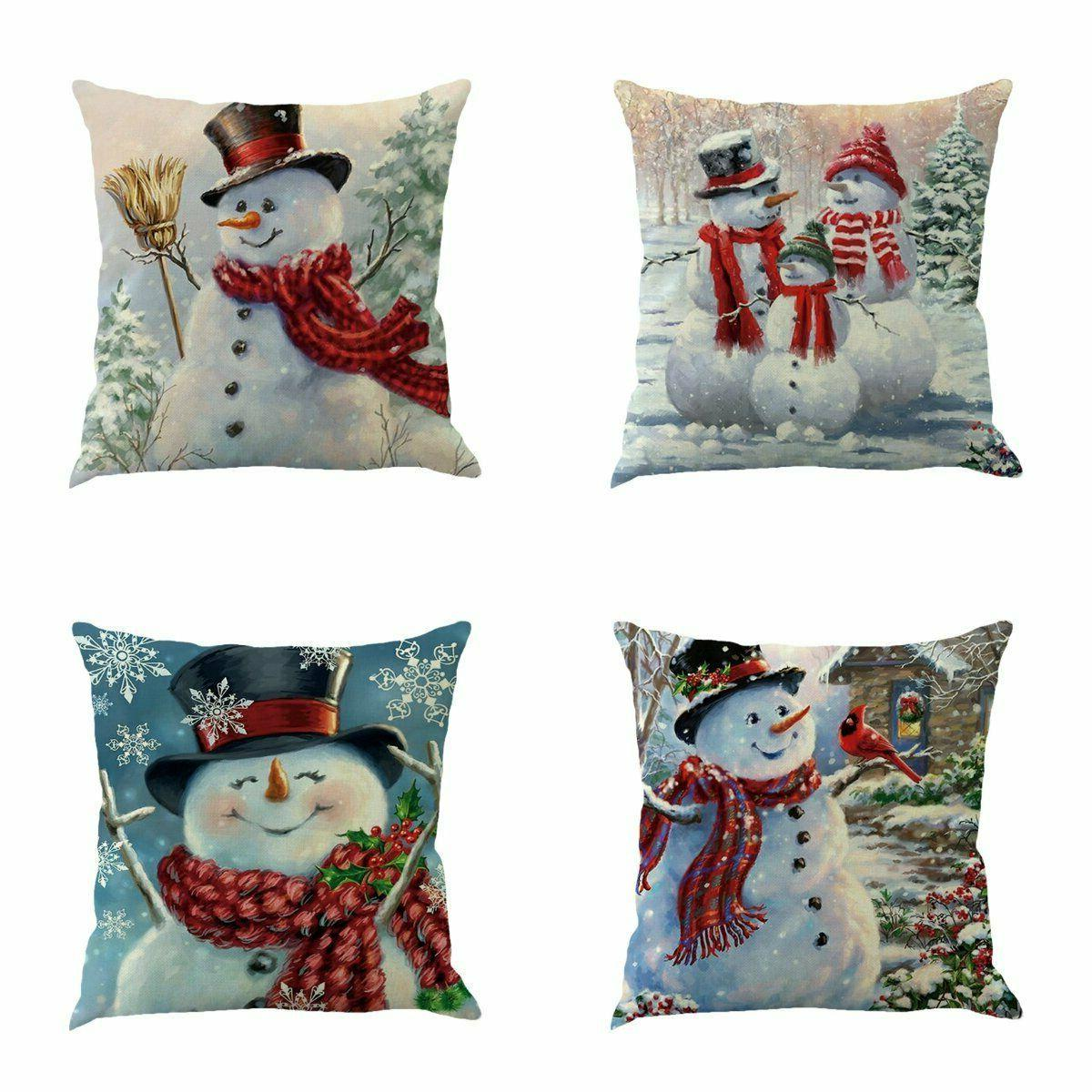 XIECCX Throw Pillow Cover 18 x 18 Inches Set of 4 Christmas