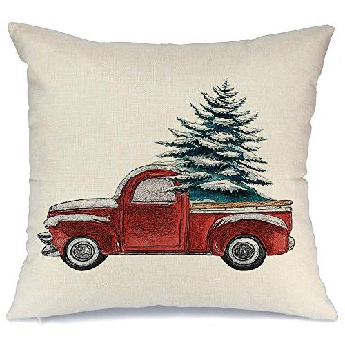Acelive Throw Pillow Farmhouse Merry Christmas Xmas Day Season Burlap Cushion Cover 18x18 Inches Farm Christmas