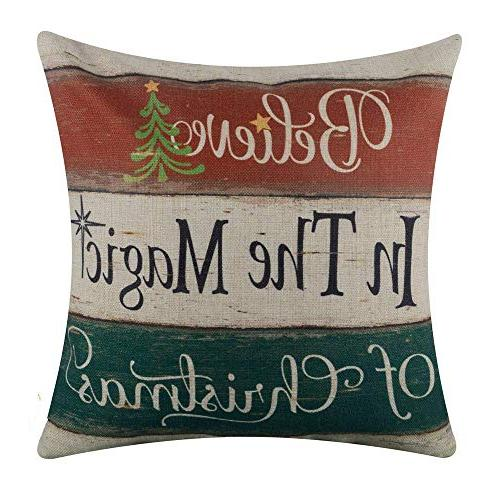 Acelive Throw Pillow Cover Farmhouse Christmas Day Seasonal Burlap Decorative 18x18 Inches Farm Christmas