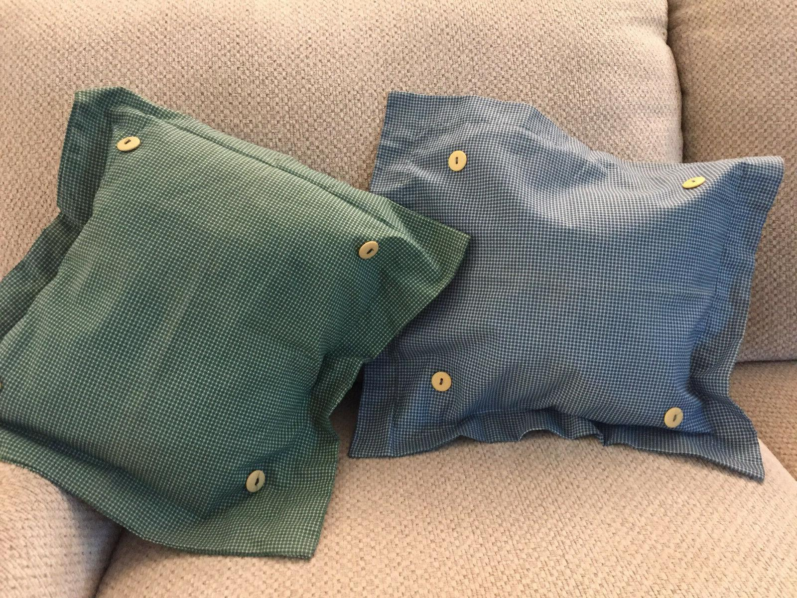 Throw Pillow COVERS 14x14- 2pk-Blue or Green-Cotton Gingham,