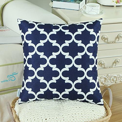 CaliTime Pack Soft Throw Sofa Quatrefoil Geometric X 18 Inches Navy Blue