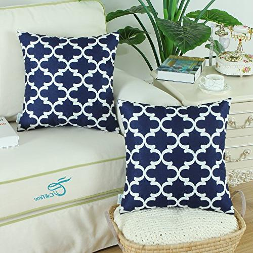 CaliTime Soft Covers Cases Sofa Home Quatrefoil X 18 Blue