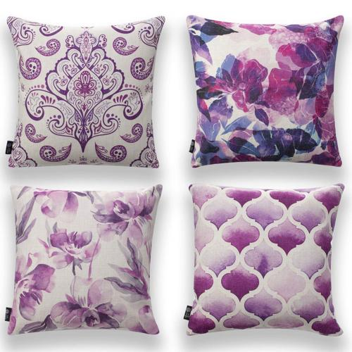 Pumelo tree Throw Pillows Cover Purple Flowers Pack of 4 Cus