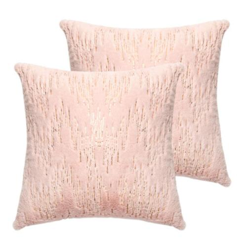 throw pillows covers pink fur with embroider