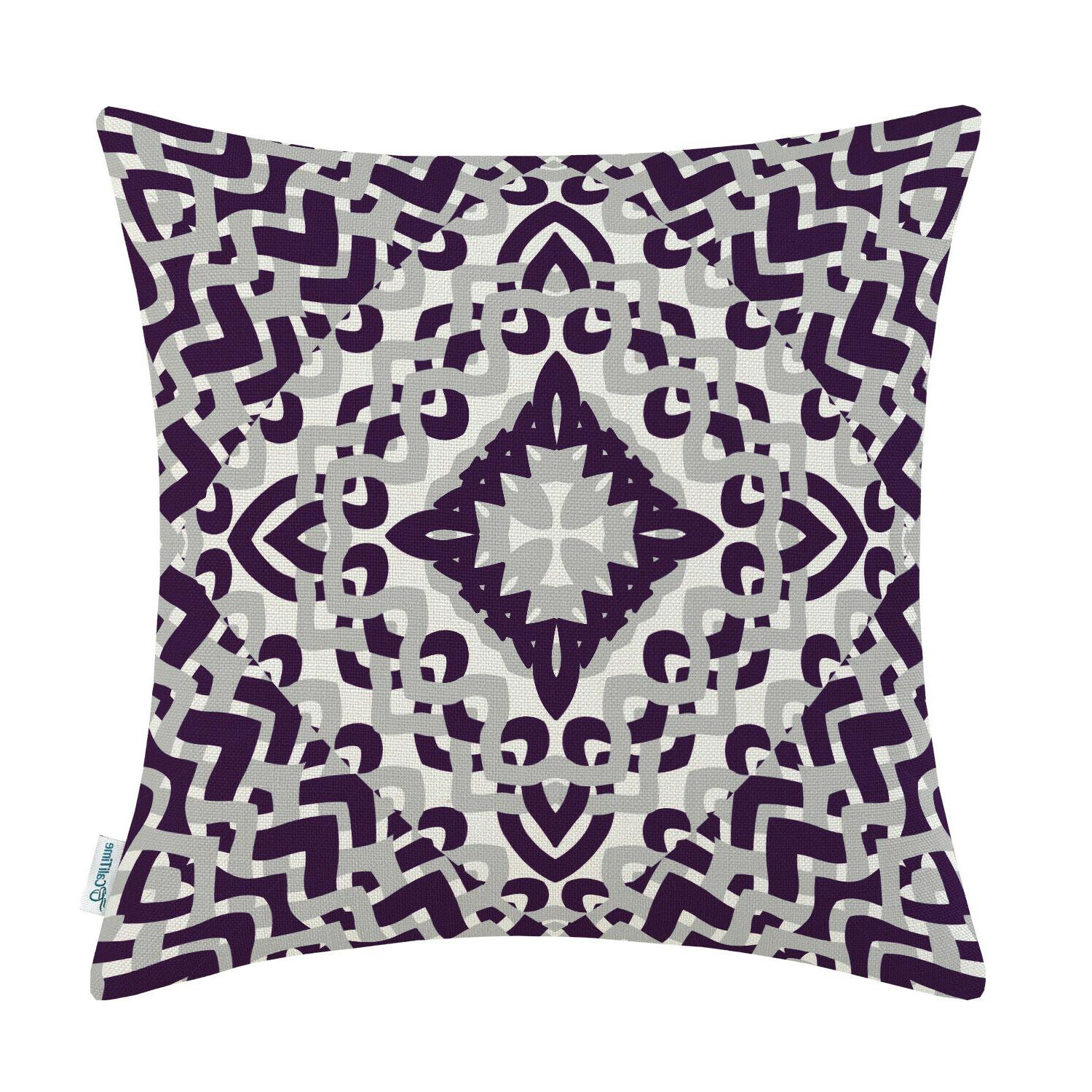 """CaliTime Pillows Cover Shell Geometric Compass 18 18"""""""