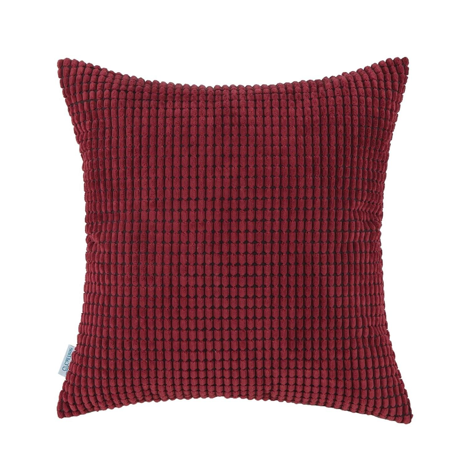 """CaliTime Throw Pillows Covers Solid Soft Corduroy 26"""""""
