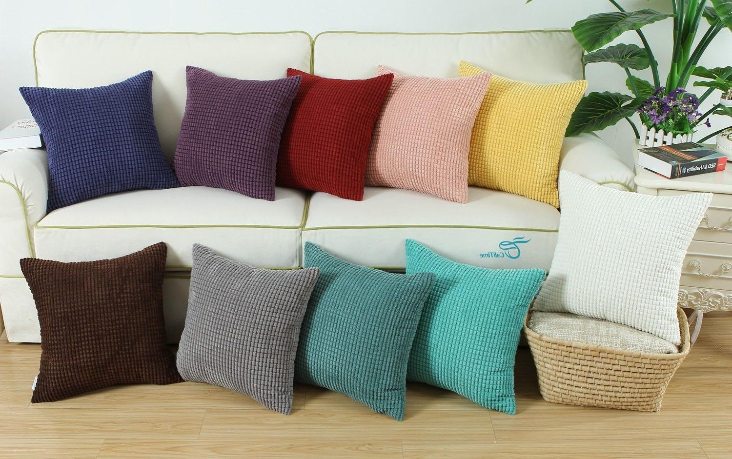 throw pillows cushion covers solid soft corduroy