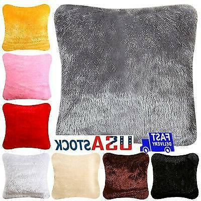 us fluffy fur plush pillow case shaggy