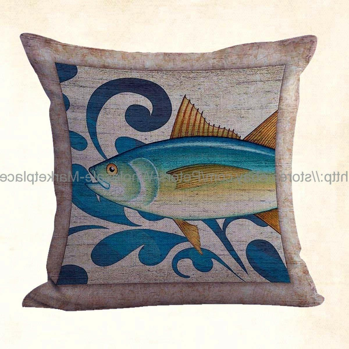 us seller ocean fish coastal retro pillow