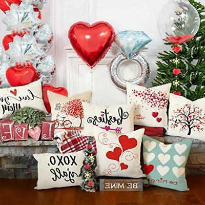 4TH Emotion Valentine's Day Throw Pillow Cover Red Sweet Cushion Case for